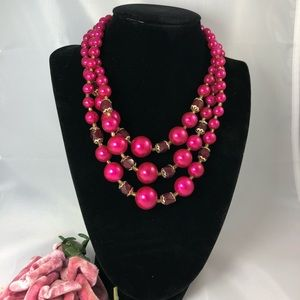 Vintage 3 strand pink pearl and crystal necklace